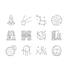 Space thin icon universe earth discovery vector