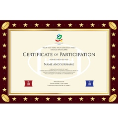 Sport theme certification participation template vector