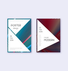 Stylish cover design template set red white blue vector