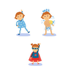 superhero girl morning routines - exercise shower vector image