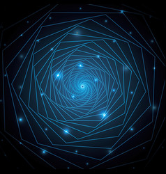 Technology abstract heptagonal geometric line art vector