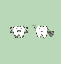 Tooth implant - teeth change new root to friend vector