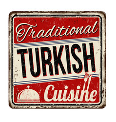 Traditional turkish cuisine vintage rusty metal vector