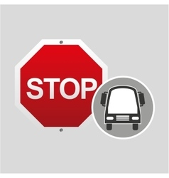Transport bus stop road sign design vector