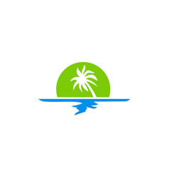 Tropic palm tree beach logo vector