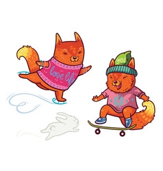 Two cute baby fox skating fun characters in vector