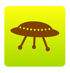 Ufo simple sign brown icon at green vector