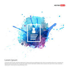 user identity card - watercolor background vector image