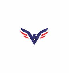 v eagle logo simple design vector image