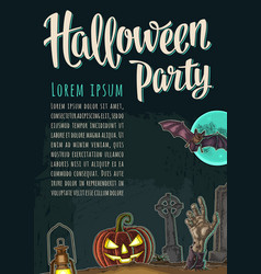 Vertical poster with halloween party calligraphy vector