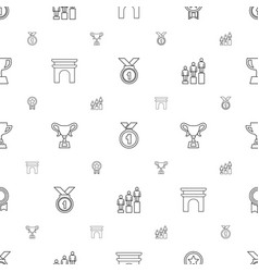 victory icons pattern seamless white background vector image