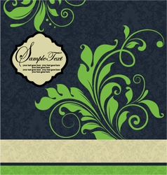 vintage green floral wedding invitation card vector image
