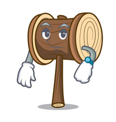 Waiting mallet mascot cartoon style vector