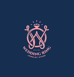 Wedding ring monogram w vector
