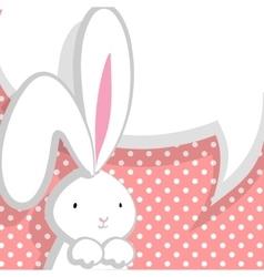 White cute rabbit pink comic bubble vector