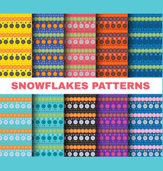 winter pattern set christmas snowflakes on vector image
