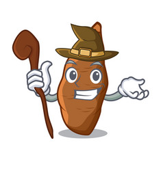 Witch ripe cassava on the cartoon table vector