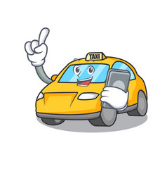 With phone taxi character cartoon style vector