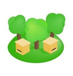 Wooden beehive in the forest isometric 3d icon vector image