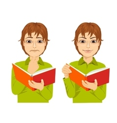 Young boy focused reading interesting book vector