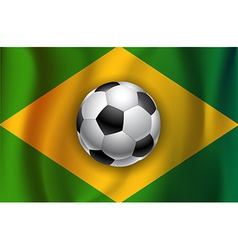 Brazilian country flag with soccer football ball vector image