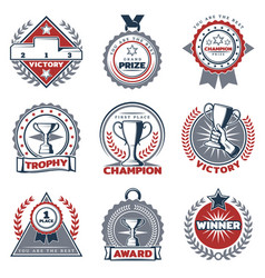 colorful sport prizes labels set vector image