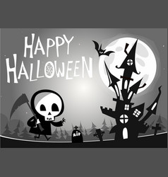 death with a scythe and haunted house vector image vector image