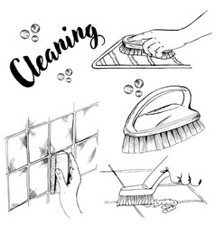 doodle cleaning brush and sponge vector image