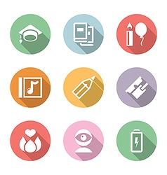 icon set education and science color with shadow vector image vector image