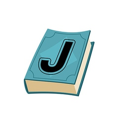 Letter J on cover of retro books Concept of vector image