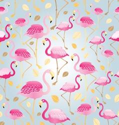 pattern of bright pink flamingos vector image