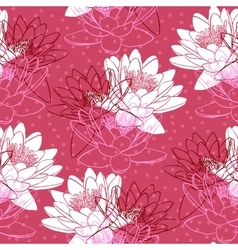 Seamless pattern with water lilies vector image