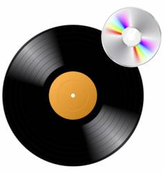vinyl record with cd vector image vector image