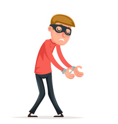 caught handcuffs burglar robber thief scared guy vector image