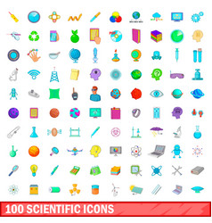 100 scientific icons set cartoon style vector image vector image