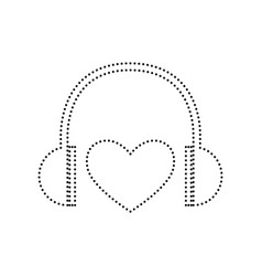 headphones with heart black dotted icon vector image vector image