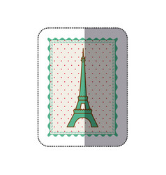 sticker frame with silhouette of eiffel tower with vector image