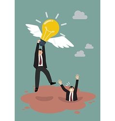 Businessman hold flying lightbulb get away from vector image vector image