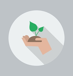 Eco Flat Icon Hand Holding Plant vector image vector image