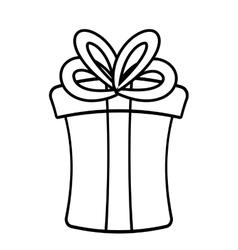 Gift box ribbon birthday event linear vector