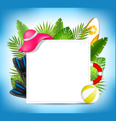 tropical summer design card template with beach vector image vector image