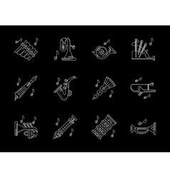 Wind instruments store white line icons vector image