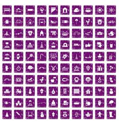 100 kindergarten icons set grunge purple vector