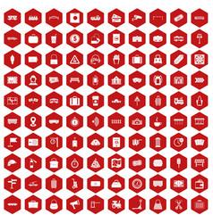 100 railway icons hexagon red vector