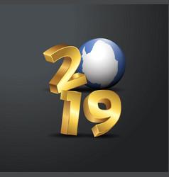 2019 golden typography with antarctica flag happy vector