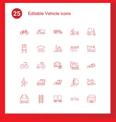 25 vehicle icons vector image