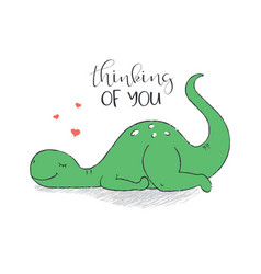 a cute dinosaur in love vector image
