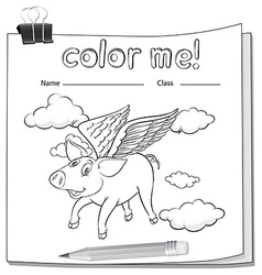 A worksheet with a flying pig vector