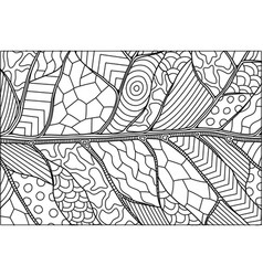 abstract black and white pattern with leaf vector image