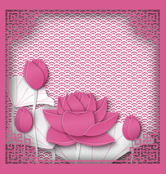 abstract chinese square frame with floral pink vector image
